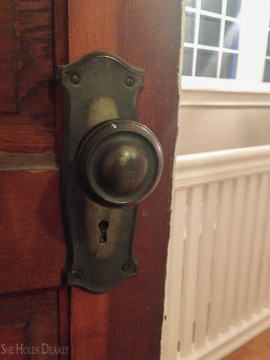 antique door knob and plates in our farmhouse