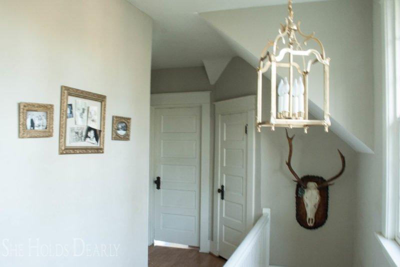 craftsman, stairwell, lantern