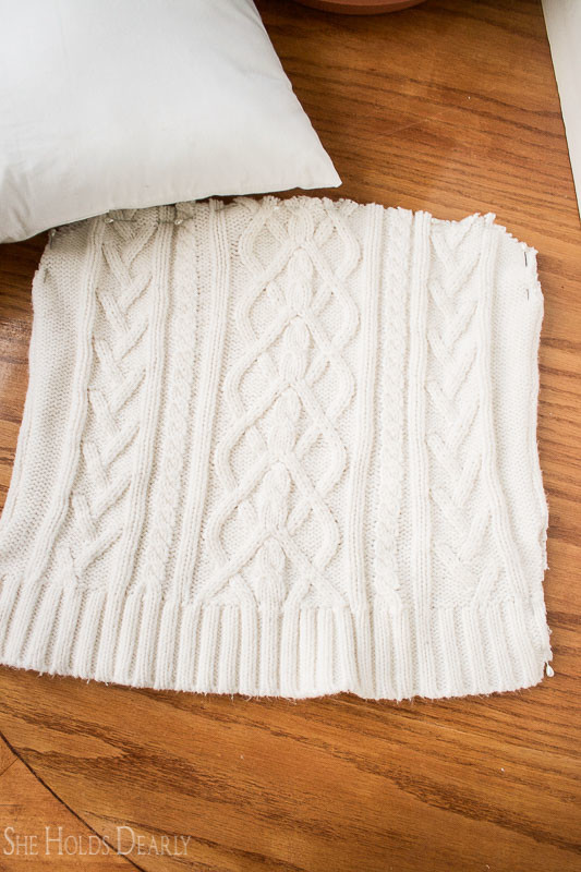 Simple Sweater Pillow Tutorial by She Holds Dearly