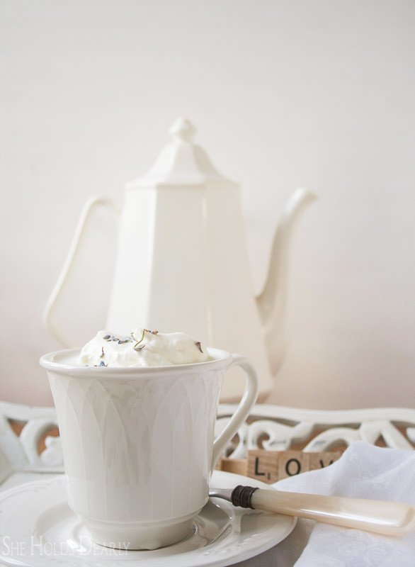 Lavender White Hot Chocolate Recipe by She Holds Dearly