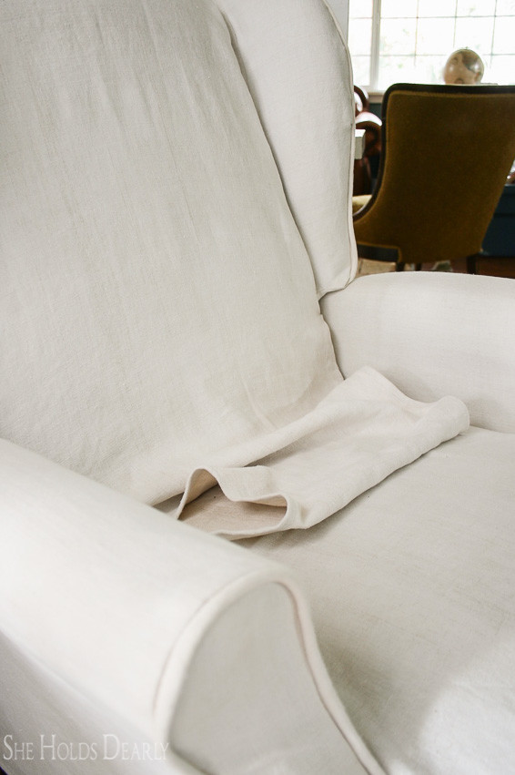 How to Slipcover a Recliner by She Holds Dearly