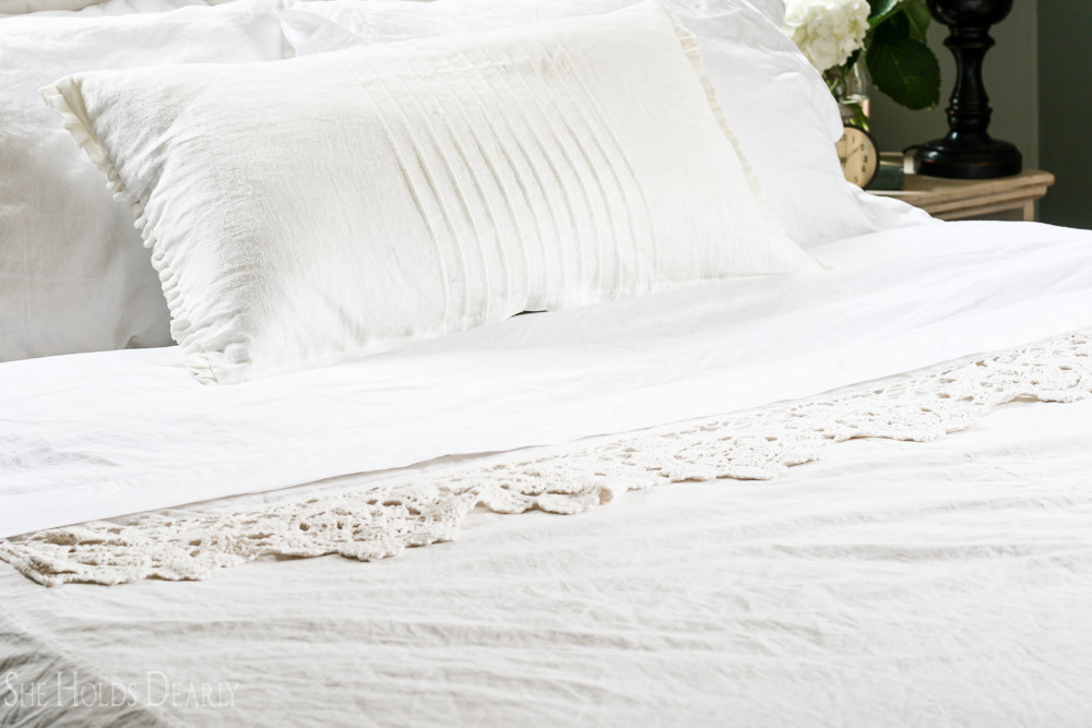 Linen, pleated pillow from IKEA and crocheted dust ruffle for duvet cover