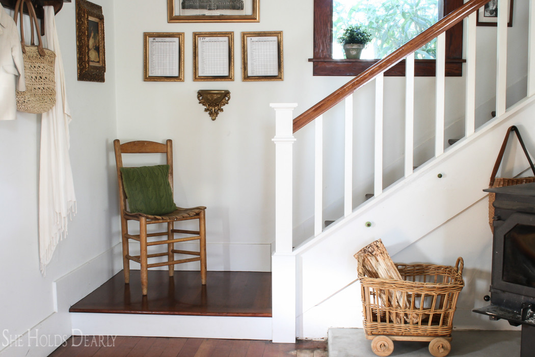 Farmhouse Newel Post Makeover She Holds Dearly