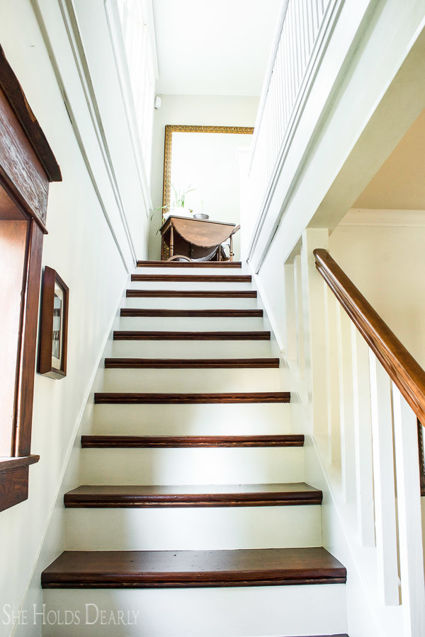 How To Refinish Old Wood Stairs She Holds Dearly