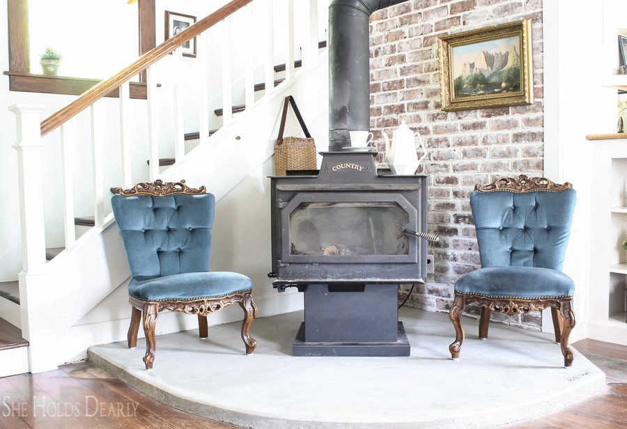 A simple, rustic hearth design for a modern farmhouse look.