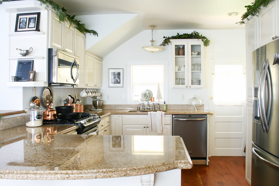 Holiday Home Decor. Home Tour, Blog Hop, White Kitchen, Farmhouse Christmas