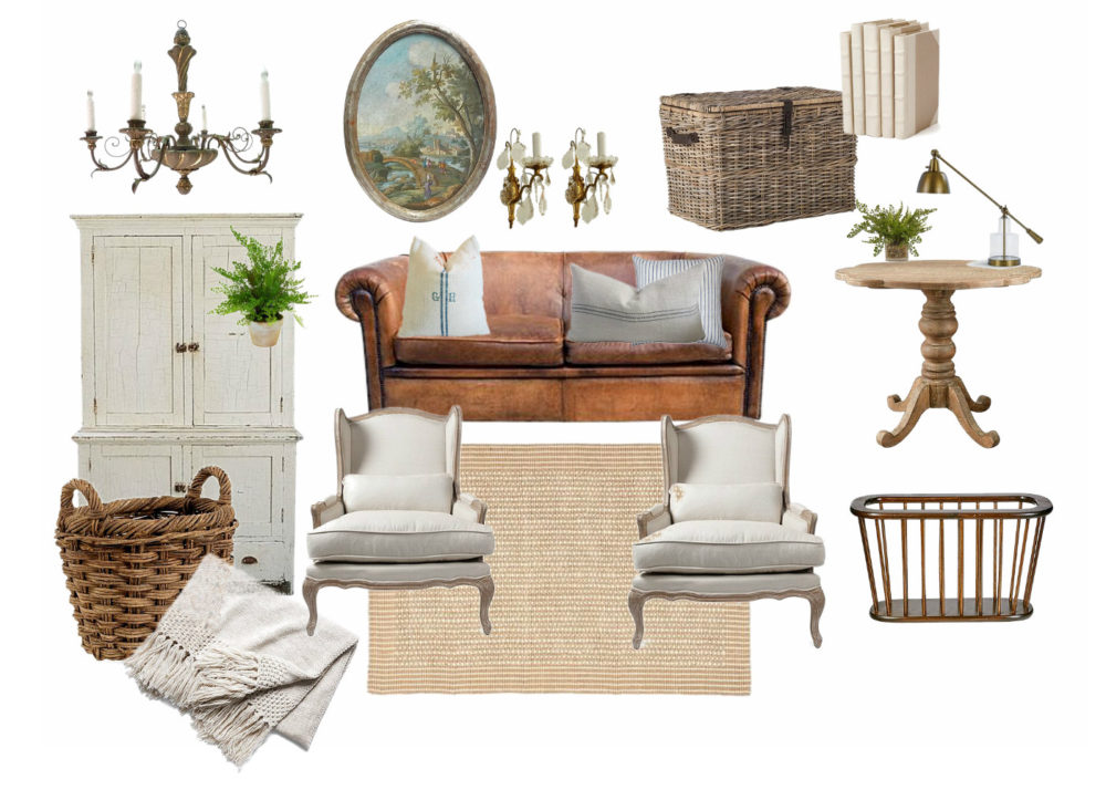 Mood Board, Inspiration, Design Plans for Farmhouse Living Room