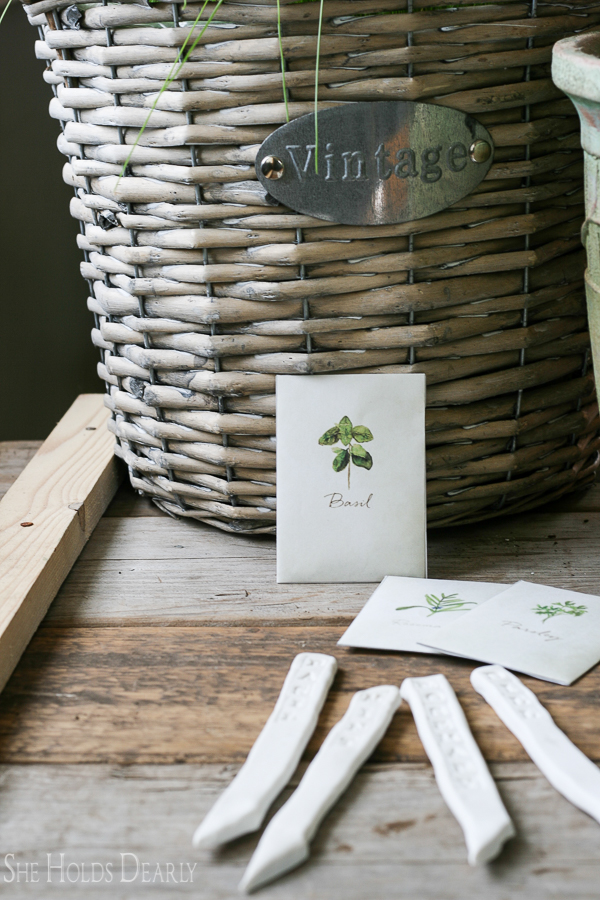 DIY Clay Herb Lables, Seed Packets, Jute Twine, Chinese Gardening Sheers