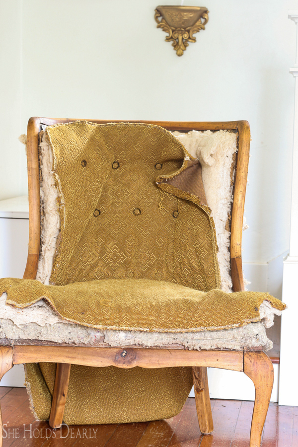 Reupholstering An Antique Chair She Holds Dearly