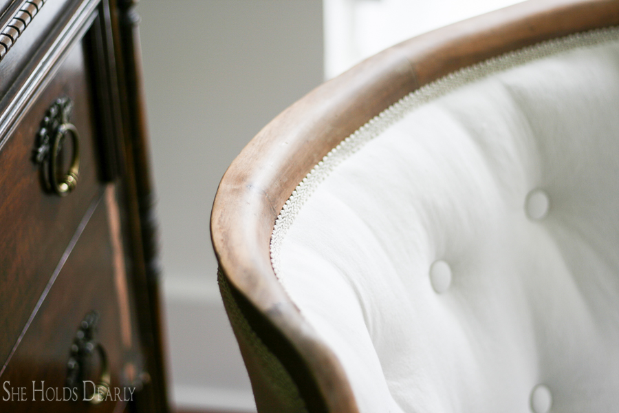 How to Reupholster an Antique Chair- Start to Finish! Including tufting!