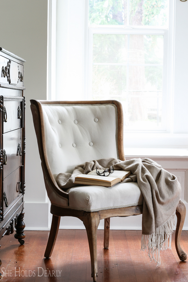 How to Reupholster an Antique Chair- Start to Finish! Including tufting! - Reupholstering An Antique Chair - She Holds Dearly