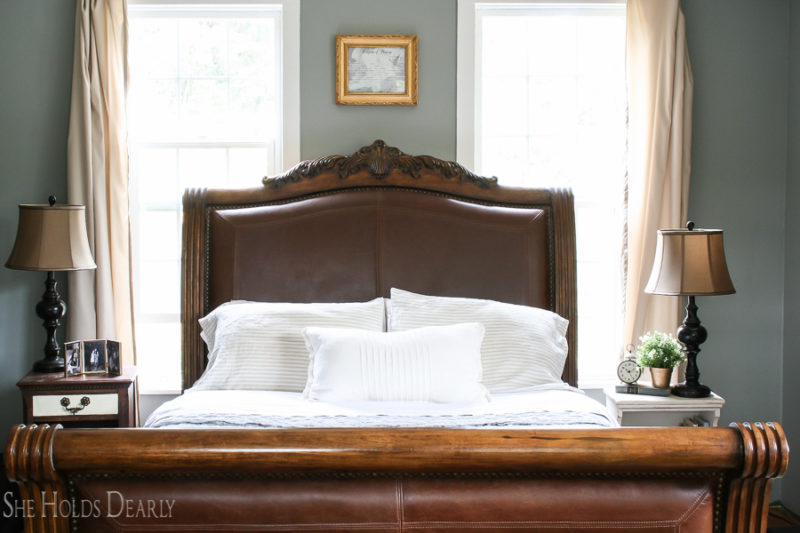 Farmhouse Sleigh Bed Master Bedroom Befores by sheholdsdearly.com