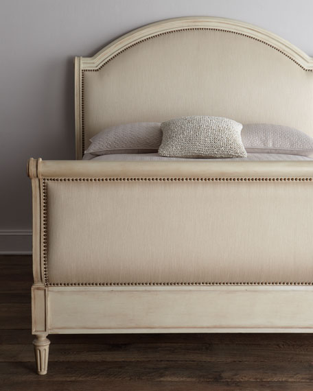 Horchow Bed Linen Upholstered Sleigh Bed by sheholdsdearly.com