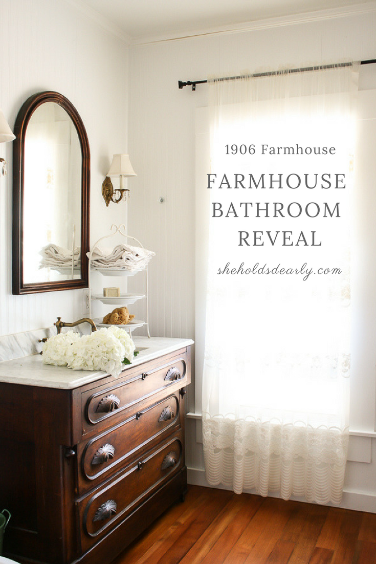 Farmhouse Bathroom Reveal by sheholdsdearly.com