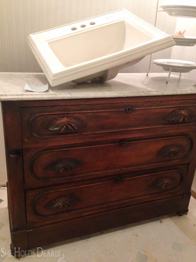 Upcycled Bathroom Vanity by sheholdsdearly.com
