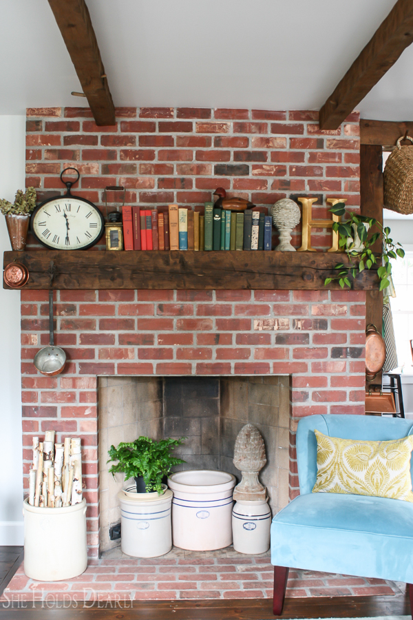 1800's Home Tour Brick Fireplace by sheholdsdearly.com