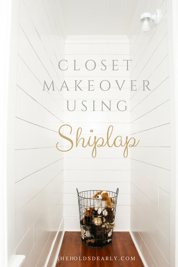 Installing Shiplap in a Closet by sheholdsdearly.com