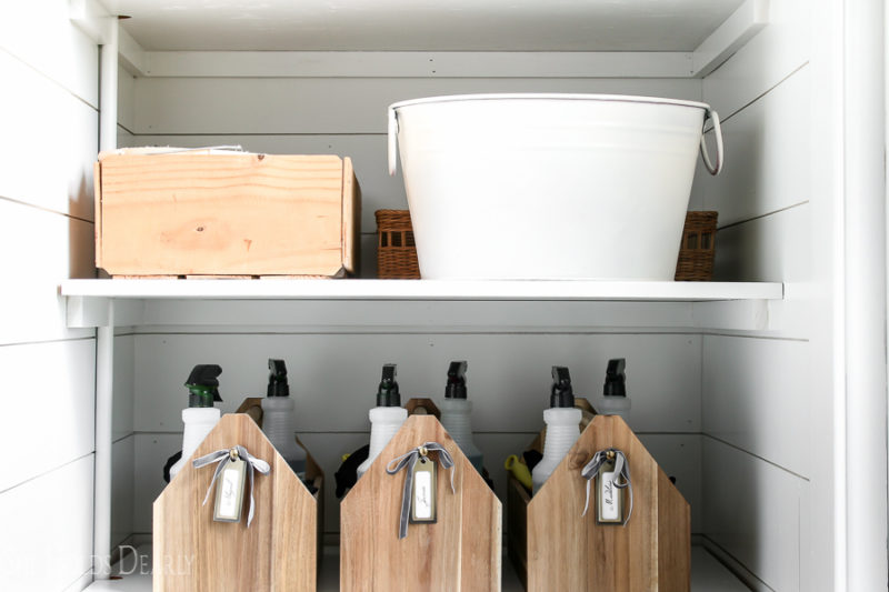 Cottage Style Cleaning Closet by sheholdsdearly.com