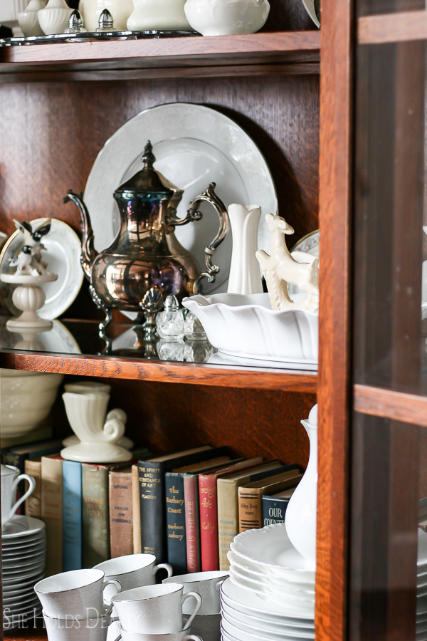 Vintage Books and Dishes, Modern Farmhouse by sheholdsdearly.com