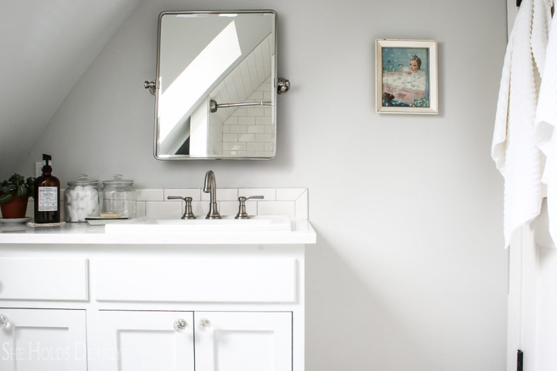 Farmhouse Home Tour Bathroom by sheholdsdearly.com