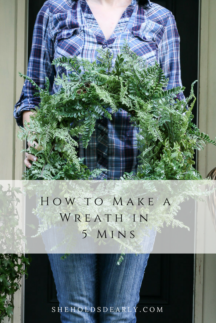 Faux fern wreath for front door