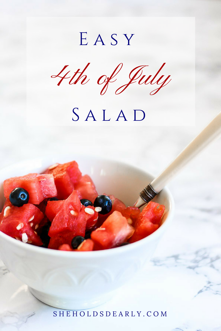 Need a quick and easy salad for the 4th of July? How about one that takes just two ingredients? Here is a cute one using only blueberries and watermelon!