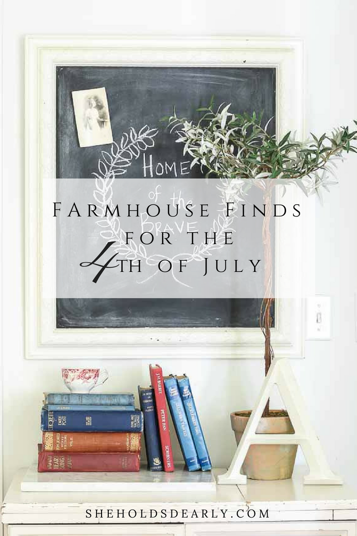 Home of the Brave chalkboard, olive topiary and antique books