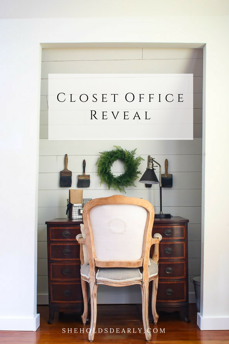 Closet Office Reveal by sheholdsdearly.com