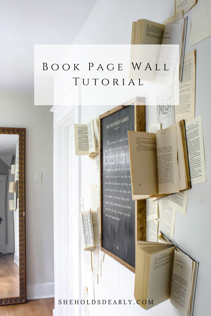 Book Page Wall Tutorial by sheholdsdearly.com