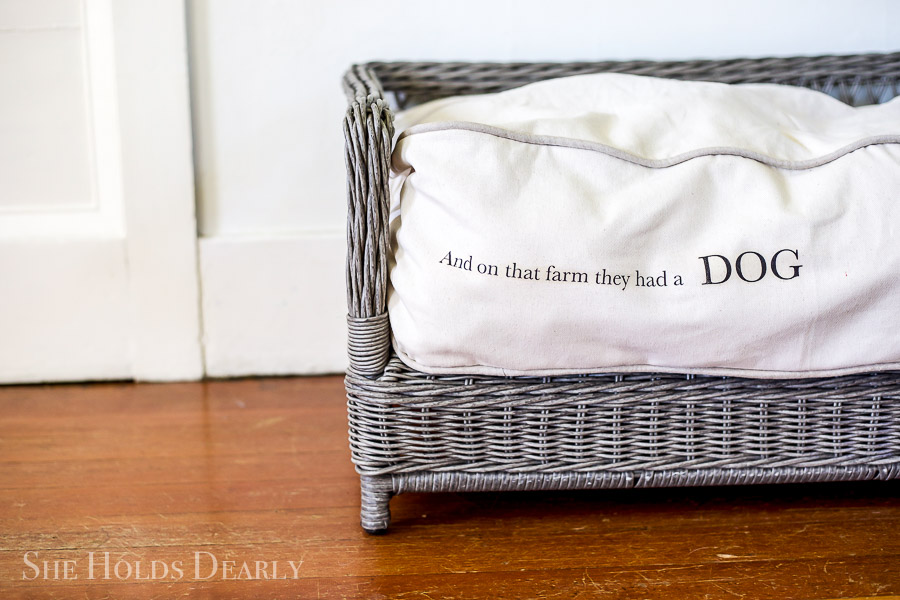Farmhouse Dog Bed Tutorial by sheholdsdearly.com