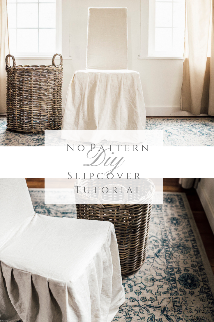 No Pattern Slipcover Tutorial by sheholdsdearly.com