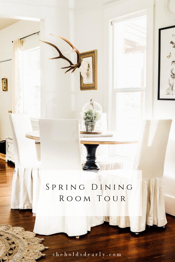 Spring Dining Room Decor by sheholdsdearly.com