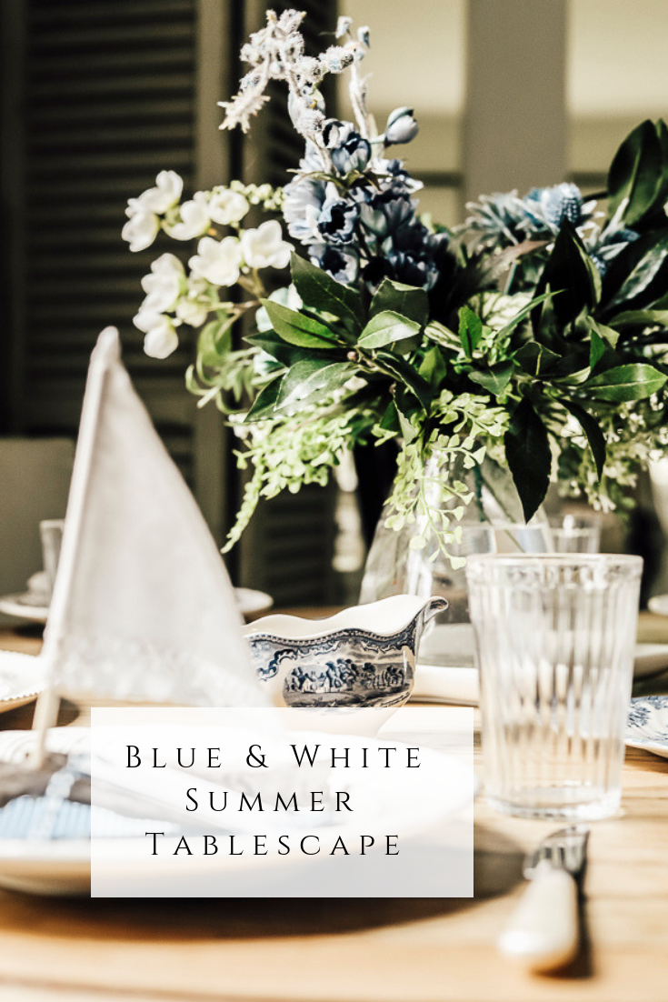 Blue & White Summer Tablescape by sheholdsdearly.com