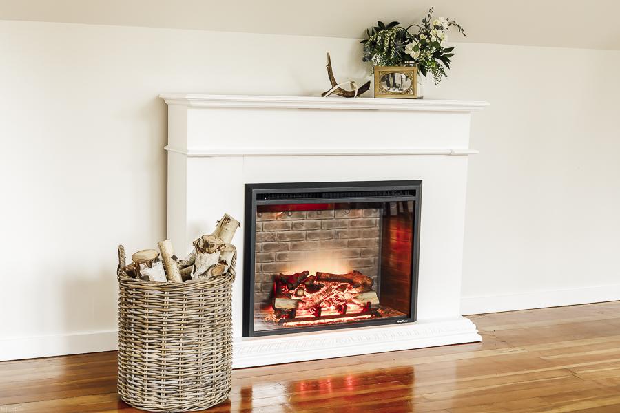 DIY Mantle Fireplace by sheholdsdearly.com