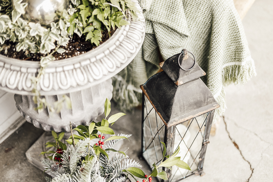 Farmhouse Christmas Porch Decor by sheholdsdearly.com