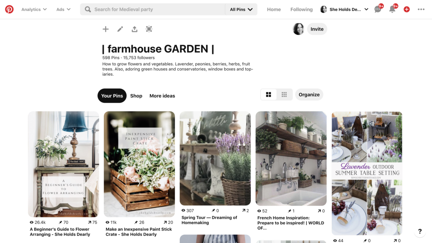 Farmhouse Garden Pinterest Board by sheholdsdearly.com