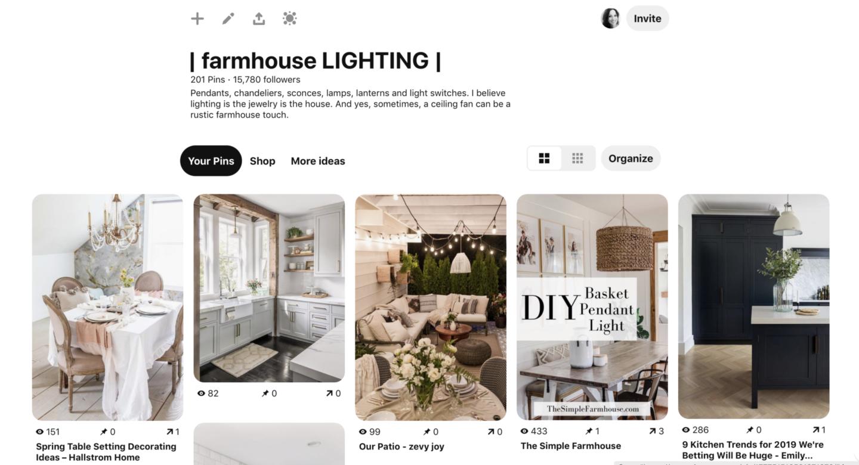 Farmhouse Lights Pinterest Board by sheholdsdearly.com