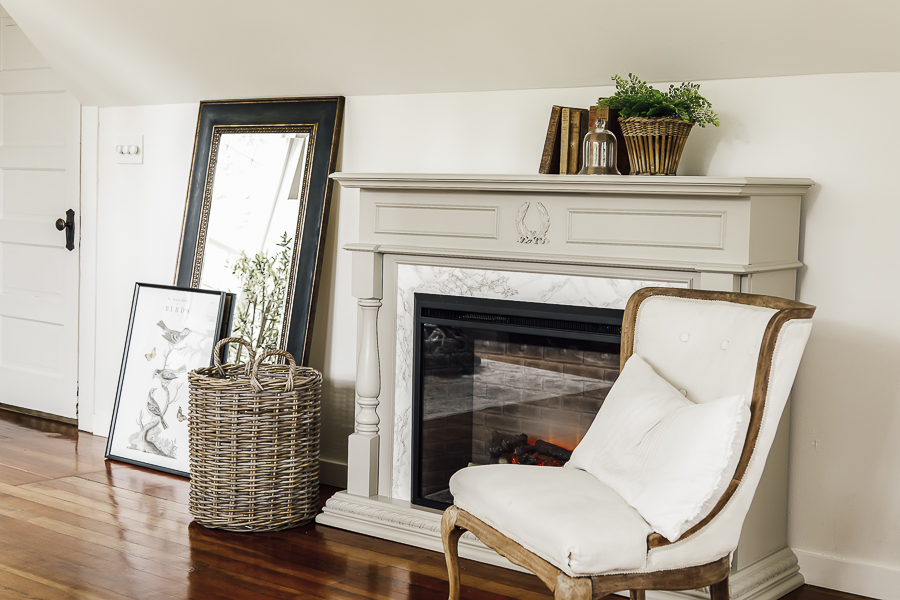 Farmhouse Fireplace Mantle Makeover by sheholdsdearly.com