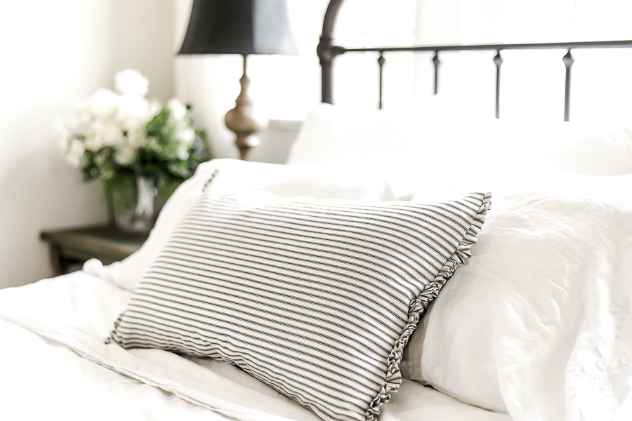 Lumbar Pillow Black and White Striped by sheholdsdearly.com