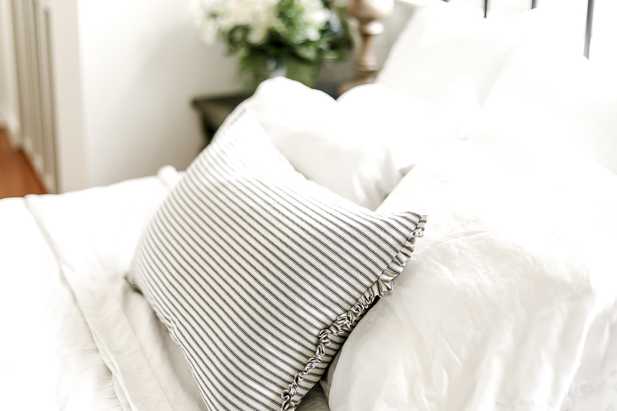 Ticking Stripe Bolster Pillow by sheholdsdearly.com