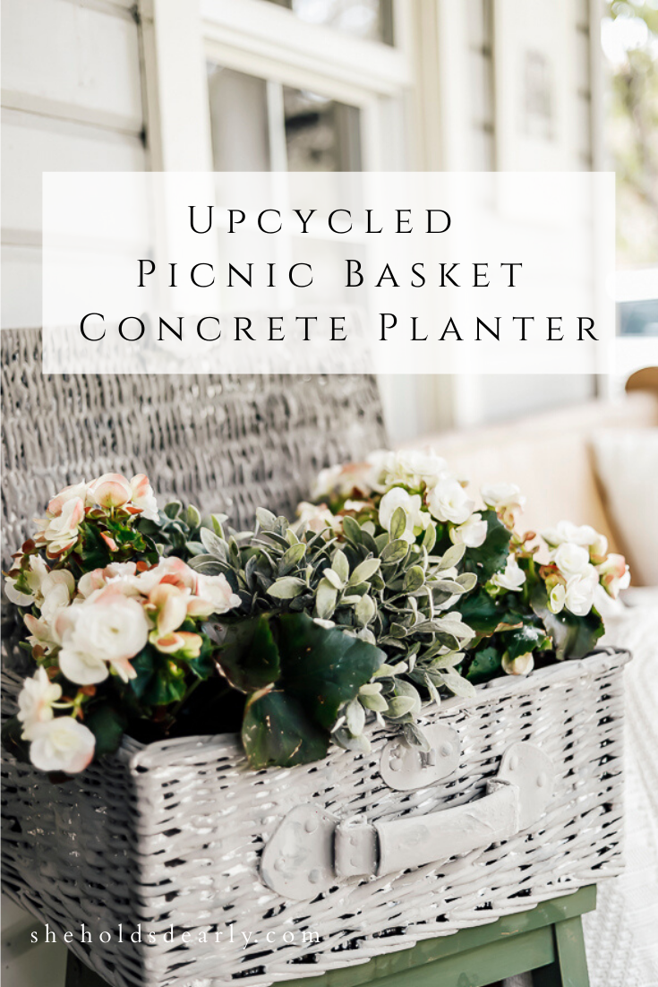 Upcycled Picnic Basket Concrete Planter by sheholdsdearly.com