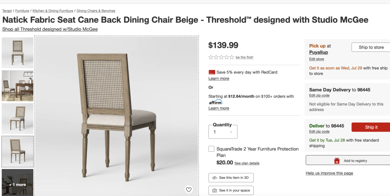 Target Cane Chair