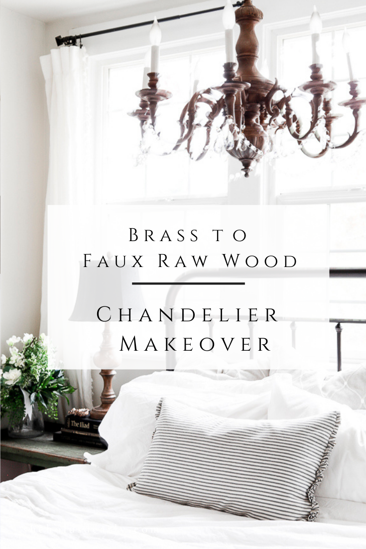 Brass to Faux Wood Chandelier Makeover by sheholdsdearly.com