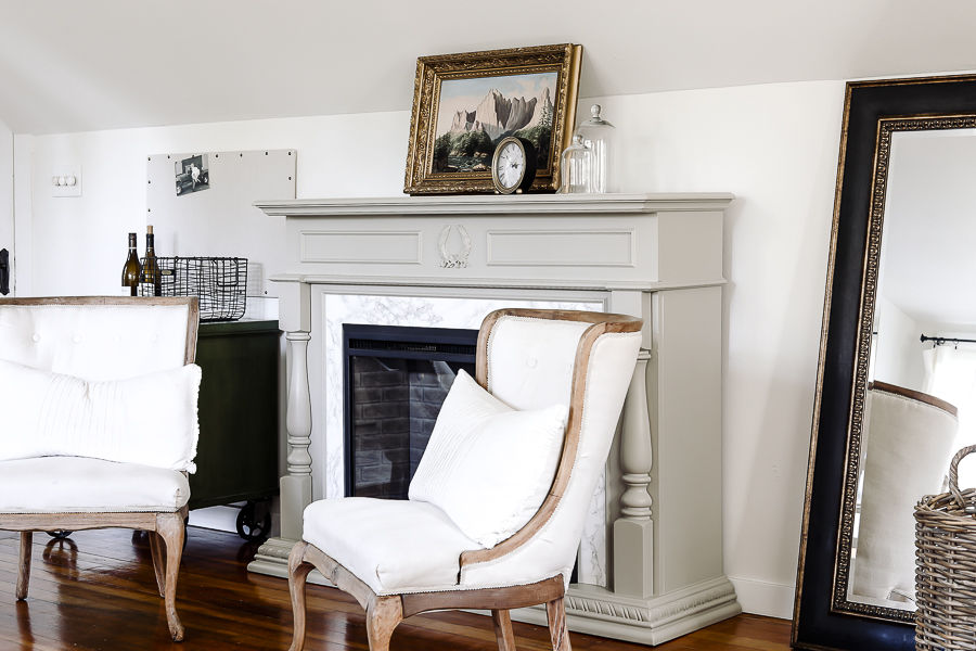 Farmhouse Master Bedroom Mantel by sheholdsdearly.com
