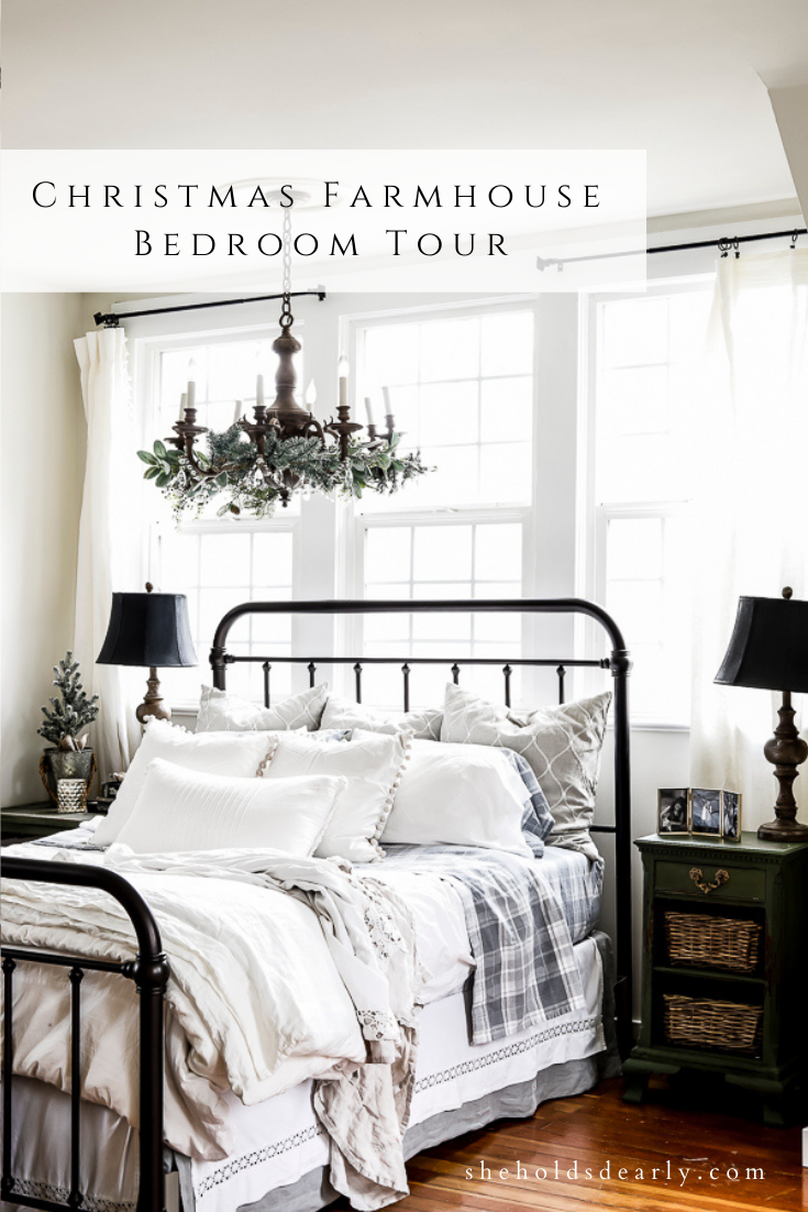 Christmas Farmhouse Bedroom Tour by sheholdsdearly.com