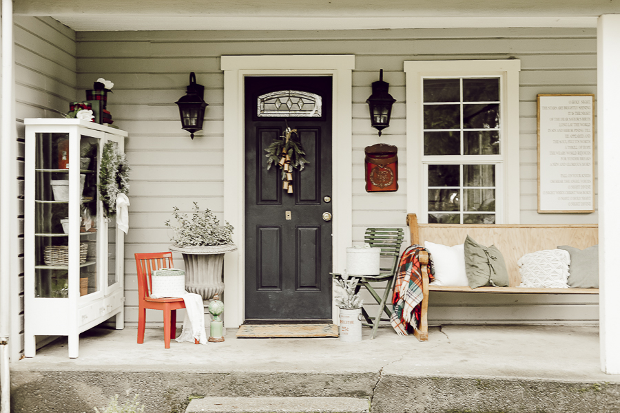 Cozy Farmhouse Winter Porch by sheholdsdearly.com
