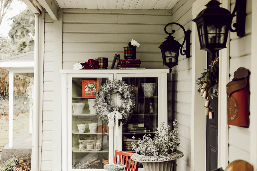 Red and Green Farmhouse Christmas Front Porch by sheholdsdearly.com