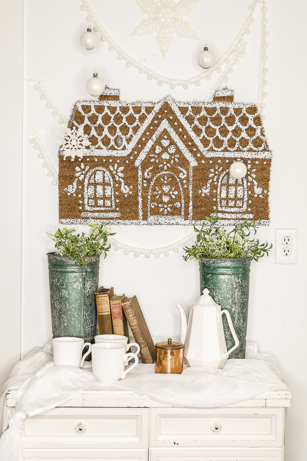 Anthropologie Inspired Gingerbread House Doormat by sheholdsdearly.com